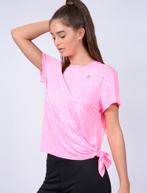 Matella Tie Side Sports Top in Neon Pink Marl – Tokyo Laundry Active