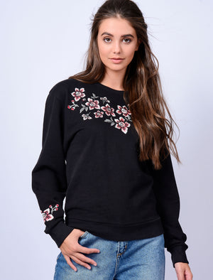 Blossom Floral Embroidered Sweatshirt in Jet Black – Amara Reya