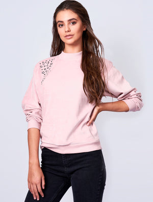 Mac Star Embroidered Velour Sweatshirt In Dusty Pink – Amara Reya