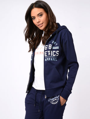 Womens Loopback Fleece Zip Through Hoodie In Eclipse Blue – Tokyo Laundry