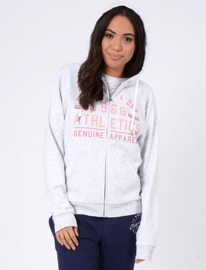 Pia Loopback Fleece Zip Through Hoodie In White Grey Marl – Tokyo Laundry