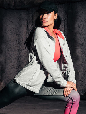 Rousey  Zip Through Hoodie in Light Grey Marl – Tokyo Laundry Active