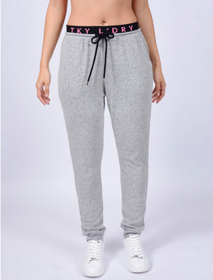 Hooter Brushed Jersey Cuffed Joggers in Pale Grey - Tokyo Laundry Active