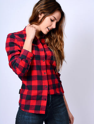 TL Rhoda Checked Flannel Shirt in Red / Navy – Tokyo Laundry
