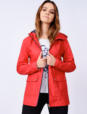 TL Seagull Hooded PU Coat in Tango Red – Tokyo Laundry