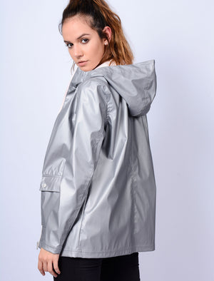 TL Seagull Hooded PU Coat in Matte Silver – Tokyo Laundry