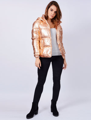 Ginger Quilted Hooded Jacket in Rose Gold Metallic – Tokyo Laundry