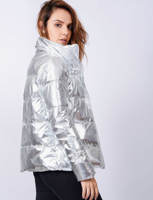 Edona Quilted Puffer Jacket in Metallic Silver – Tokyo Laundry