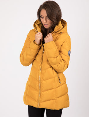 Safflower Longline Quilted Puffer Coat In Old Gold - Tokyo Laundry