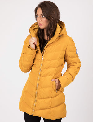 Safflower Longline Quilted Puffer Coat In Old Gold – Tokyo Laundry