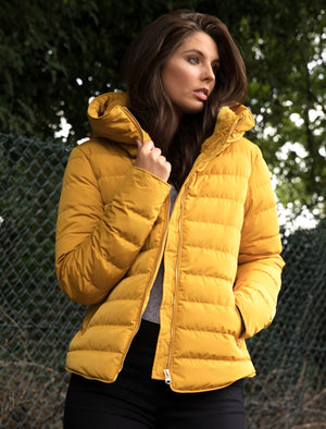 Quince Quilted Puffer Jacket with Extendable Hood in Old Gold - Tokyo Laundry