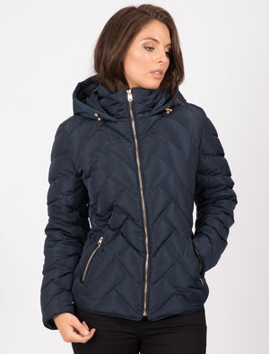Chateau Zig Zag Quilted Hooded Puffer Jacket in Navy Blazer – Tokyo Laundry