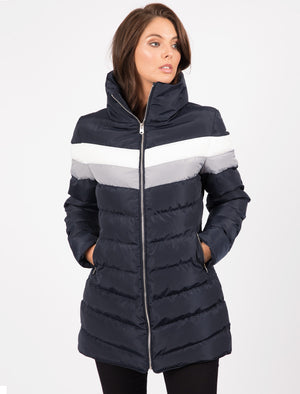 Kernel Longline Puffer Coat with Chevron Panel In Navy Blazer – Tokyo Laundry