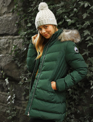 Jaboris Fur Funnel Neck Longline Quilted Puffer Coat in Dark Green - Tokyo Laundry