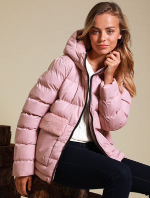 Kensington Quilted Puffer Coat with Borg Lined Hood & Pocket in Dusky Pink – Tokyo Laundry