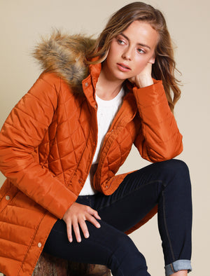 Rigel Longline Quilted Puffer Coat with Faux Fur Trim Hood in Cinnamon Stick - Tokyo Laundry