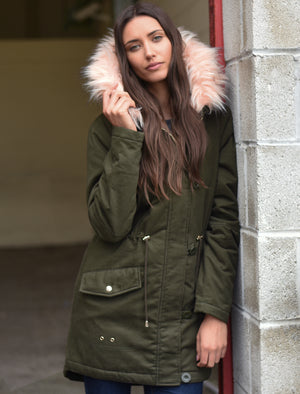 Teegan Parka Jacket in Khaki with Detachable Peachy Keen Fur Hood - Tokyo Laundry