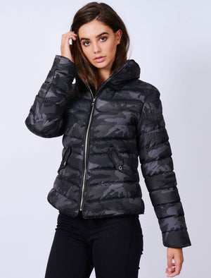 Ewok Funnel Neck Quilted Camo Jacket in Grey / Black Camo – Tokyo Laundry