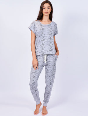 Lottie Reindeer Name Print 2pc Lounge Set in Light Grey Marl - Tokyo Laundry