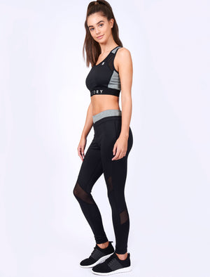 Sharkray Block Mesh Panel Sports Bra Top in Black – Tokyo Laundry Active