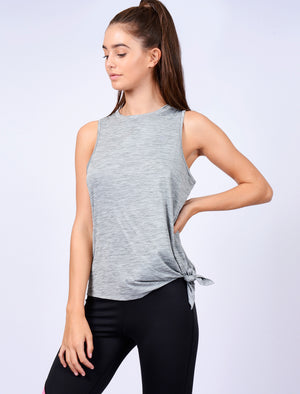 Briella Tie Side Sleeveless Vest Top in Mid Grey Marl – Tokyo Laundry Active