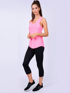 Mancuso 2 Perforated Racer Back Vest Top in Neon Pink – Tokyo Laundry Active