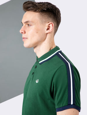 Patcham Cotton Pique Polo Shirt with Racer Stripe Tape Detail In Hunter Green - Le Shark