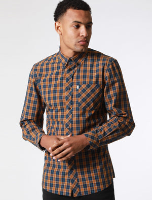 Mellor Checked Cotton Shirt with Chest Pocket In Cathay Spice Brown – Le Shark