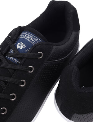Richmondy Perforated Faux Leather / Suede Low Top Lace Up Trainers in Navy – Tokyo Laundry