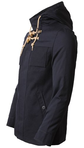 Men's sherpa lined wool mix duffle navy coat - Dissident