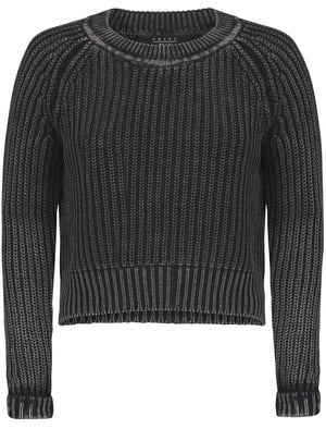 Womens Acid Wash Cable Knit Cropped Jumper in Anthracite - Amara Reya