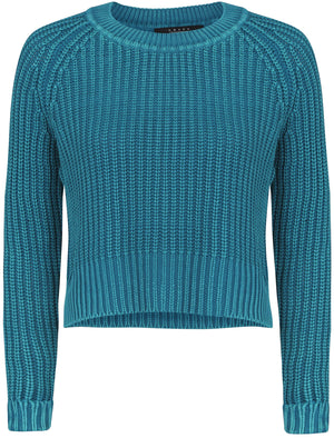 Womens Acid Wash Cable Knit Cropped Jumper in Ocean Depths - Amara Reya