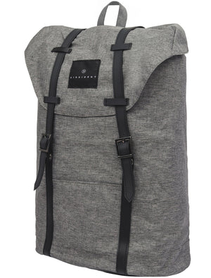 Falco Drawstring Canvas Backpack with Laptop Sleeve In Grey Marl - Dissident
