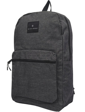 Intro Canvas Backpack with Front Pocket In Dark Grey Marl - Dissident