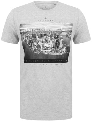 Lori NYC Skyscraper Motif Cotton Jersey T-Shirt In Heather Grey Marl – Dissident