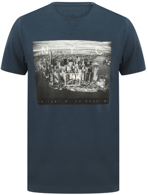 Lori NYC Skyscraper Motif Cotton Jersey T-Shirt In Sargasso Blue – Dissident