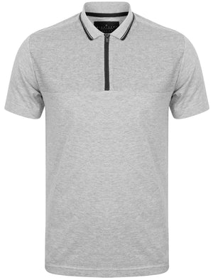 Lyon Zip Neck Cotton Jersey Polo Shirt in Light Grey Marl – Dissident