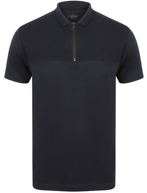 Lyon Zip Neck Cotton Jersey Polo Shirt in True Navy - Dissident