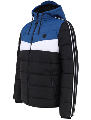 Delmon Hooded Puffer Jacket with Racer Stripe Sleeves In Monaco Blue - Dissident