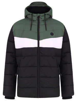 Delmon Hooded Puffer Jacket with Racer Stripe Sleeves In Thyme - Dissident