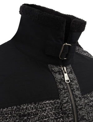 Universal Zip Through Wool Blend Knitted Jacket with Borg Lined Collar in Black / Grey Twist – Dissident