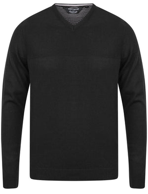 Bolington Basic V Neck Knitted Jumper in Black - Kensington Eastside