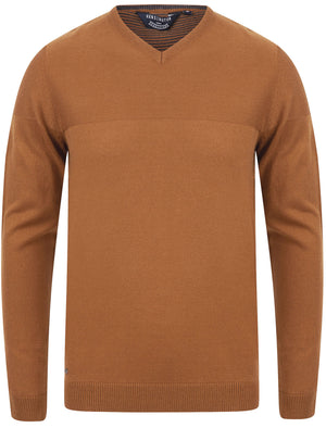 Bolington Basic V Neck Knitted Jumper in Rubber Brown - Kensington Eastside