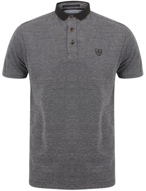 Cordelia Cotton Jacquard Polo Shirt with Contrast Collar In Black - Kensington Eastside