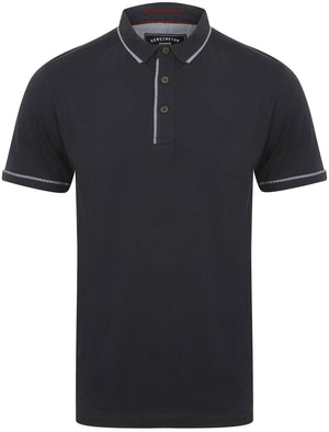Low Cotton Jersey Polo Shirt with Trims in True Navy – Kensington Eastside