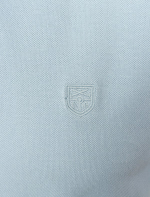 Menotti Cotton Pique Polo Shirt with Jacquard Collar in Skyway – Kensington Eastside