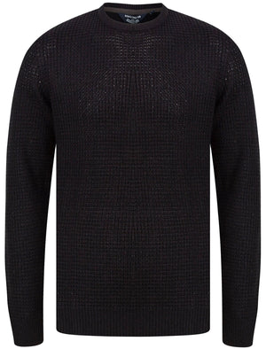 Olney Crew Neck Waffle Knit Jumper in Black - Kensington Eastside