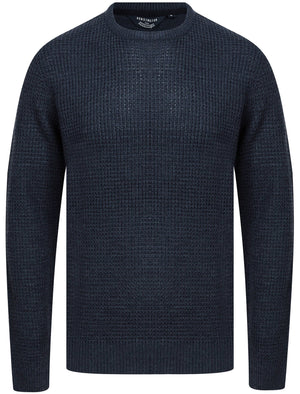 Olney Crew Neck Waffle Knit Jumper in Dark Denim Marl - Kensington Eastside