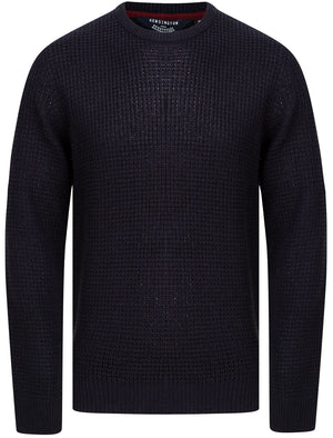 Olney Crew Neck Waffle Knit Jumper in Dark Navy - Kensington Eastside