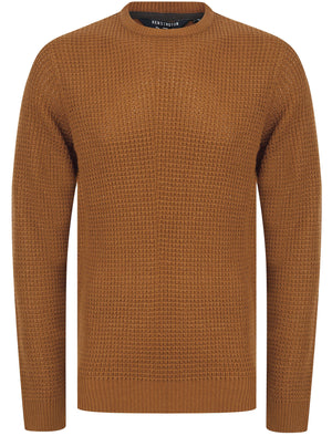 Olney Crew Neck Waffle Knit Jumper in Rubber Brown - Kensington Eastside